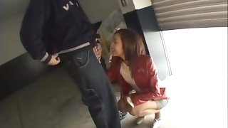 In garage where a crazy Japanese girl is an apartment, caught public fuck