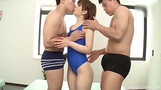 Teen Japanese in a swimsuit Arimura Nozomi in a MMF trine