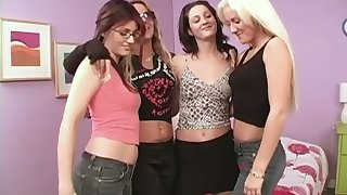 Three oversexed girls are toying each others dishevelled and flavourful pussies