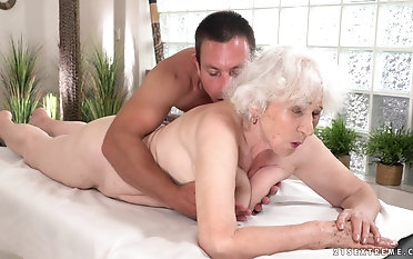 Naughty granny Norma gets her pussy fucked by a young cock