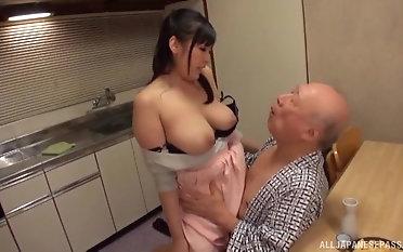 Busty Nonami Shizuka pleases an old guy at the end of one's tether playing with his dick
