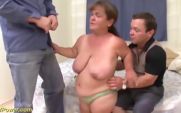 Fat hairy german mature midged enjoys the brush first threesome fuck orgy