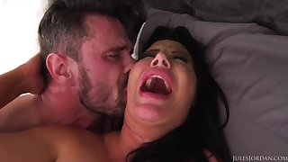 Ebony haired mummy with fat boobies is boinking a fortunate stud, engross their way spouse