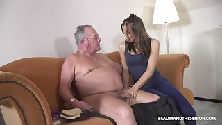 Filthy young chick Azure Angel hooks up with old big belly man