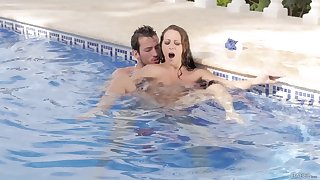MILF on pep gets laid adjacent to the pool pauper and she loves well-found