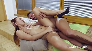 Radiant redhead Ornella Morgen gets her cunt licked and dicked