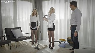 Morning FFM triptych with beautiful maids Lina Mercury with an increment of Olivia Sin