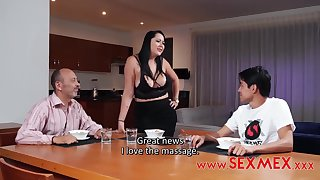 Kinky guy likes to fuck his step- mommy and does it even in front be required of another man