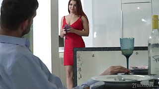 Lubricious babe in red dress and shoes Renata Fox gets intimate down foot amulet sponger