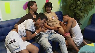 Asian teen gay orgy with horn-mad guys in a gay bar after closing