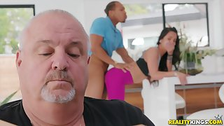 Teen gets fucked by a sinister dude back her daddy around